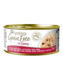 APPLAWS Cat Tin Grain Free kura a kačica v omáčke 70 g x 12