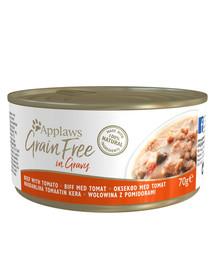 APPLAWS Cat Tin Grain Free hovädzie a paradajky 70 g x 12