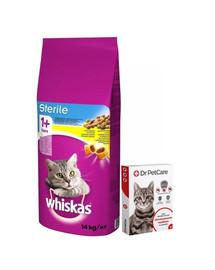 WHISKAS Sterile 14kg + Dr PetCare MAX Biocide Collar Obojok proti blchám a hmyzu pre mačku 43 cm ZADARMO