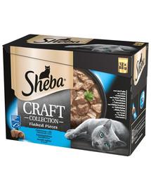 SHEBA Craft Collection  -Krmivo pre mačky vo vrecúšku v omáčke (losos, tuniak, biele ryby, treska) 48x85g + miska zdarma