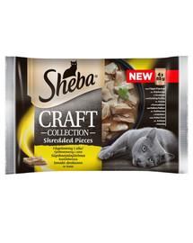 SHEBA Pochúťka Craft Collection Hydinové príchute - krmivo pre mačky v omáčke (s hydinou, kuracom, morčacím, kačacím) 52x85g + miska zdarma