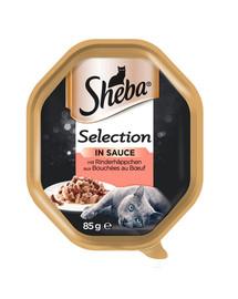 SHEBA Selection 85g* 22   s hovädzím mäsom - Paštéta pre mačky + 6x50g Fresh & Fine GRATIS