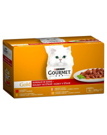GOURMET Gold Kúsky mäsa v omáčke (mix) 48 x 85 g