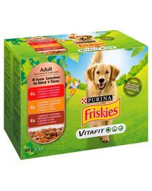 FRISKIES Vitafit Adult Mix mäsových príchutí pre dospelých psov 12x100g