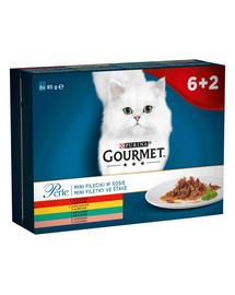 GOURMET Perle Kolekcia mini filé v omáčke pre mačky (s chuťou mäsa hovädzieho, kuracieho, králičieho, lososa) 8x85 g
