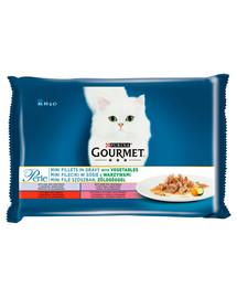 GOURMET Perle Mini filé v omáčke so zeleninou pre mačky (teľacie, hovädzie, divina, pstruh) 4x85 g