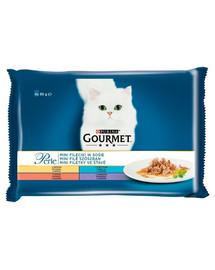 GOURMET Perle Mini filé v omáčke pre mačky (morka, tuniak, kačica, jahňacie mäso) 4x85 g