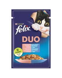 FELIX Duo pre mačky Losos a Sardinka v želé 85 g