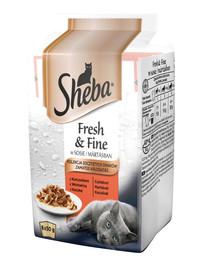 SHEBA Fresh & Fine – Krmivo vo vrecúšku pre mačky v omáčke (kura, hovädzie mäso, kačica) 72x50g + miska zdarma