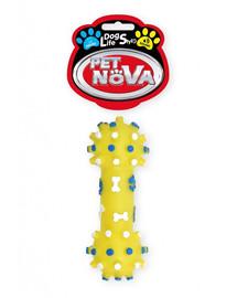 PET NOVA DOG LIFE STYLE Hračka v tvare činky s výčnelkami, 12cm, žltá