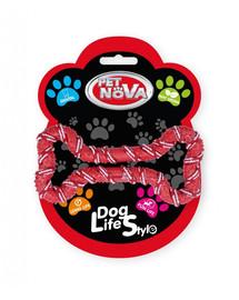 PET NOVA DOG LIFE STYLE Psie lano, kosť 20 cm, červená, vôňa mäty