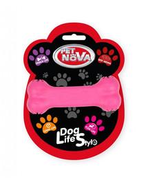 PET NOVA DOG LIFE STYLE Hryzátko v tvare kosti s miestom na uloženie pamlskov 11 cm, ružová, s vôňou hovädzieho mäsa