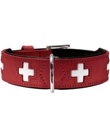 HUNTER Švajčiarsky kožený obojok veľkosť S-M (50) 35-43 / 3,9 cm červený