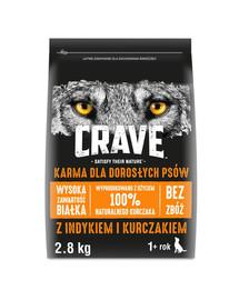 CRAVE Bezzrnné granule s morčacím mäsom a kuracím mäsom pre psov 3 x 2,8 kg