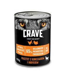 CRAVE Bezzrnná paštéta pre psov s kuracieho a morčacieho mäsa 24 x 400g