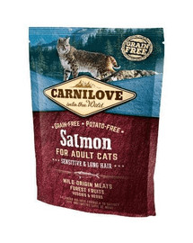 CARNILOVE Cat Grain Free Salmon Adult Sensitive & Long Hair 400g