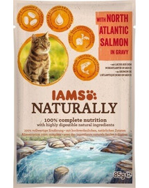 IAMS Naturally Adult Cat with North Atlantic Salmon in Gravy 85 g