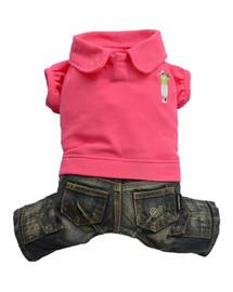 DOGGY DOLLY Komplet džínsy s polokošeľou, ružové, M 28-30 cm/41-43 cm