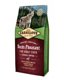 CARNILOVE Cat Grain Free Duck & Pheasant Adult Hairball Control 6kg