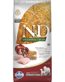FARMINA N&D Ancestral Grain dog Adult Medium & Maxi Chicken & pomegranate 12 kg