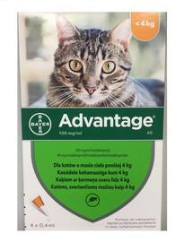 BAYER ADVANTAGE Roztwór do nakrapiania dla kotów do 4 kg (4 x 0,4 ml)