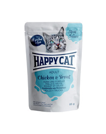 HAPPY CAT Meat in sauce Adult Huhn & Forelle 85 g kura a pstruh