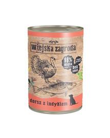 WIEJSKA ZAGRODA Treska a morčacie 400 g Bezobilná konzerva pre psov