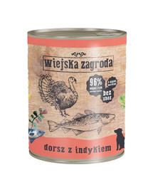 WIEJSKA ZAGRODA Treska a morčacie 800 g Bezobilná konzerva pre psov