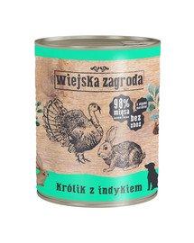 WIEJSKA ZAGRODA Králik a morčacie 800 g Bezobilná konzerva pre psov