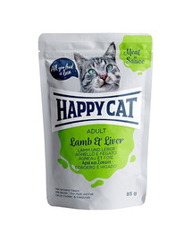 HAPPY CAT Meat in sauce Adult jahňacie a pečeň 85 g