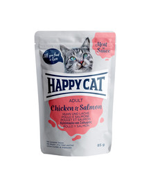 HAPPY CAT Meat in sauce Adult kura a losos 85 g