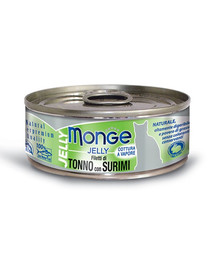 MONGE Jelly Cat Tuniak a krabie tyčinky 80g