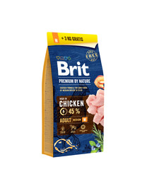BRIT Premium by Nature Adult M 15kg + 3 kg ZADARMO