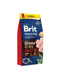 BRIT Premium by Nature Adult L 15kg + 3 kg ZADARMO
