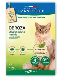 FRANCODEX Obojok odpudzujúci hmyz pre mačky s hmotnosťou nad 2 kg - 4 mesiace, 43 cm