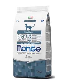 MONGE Monoprotein Cat Sterilised Pstruh 400g granule pre kastrované mačky