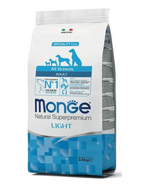 MONGE Light Losos s ryžou 2,5 kg