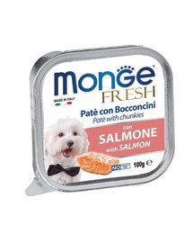 MONGE Dog Fresh paštéta a kúsky s lososom 100g