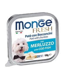 MONGE Dog Fresh paštéta & kúsky tresky 100g