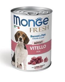 MONGE Fresh Dog paštéta a kúsky s teľacím 400g