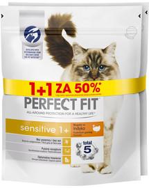 PERFECT FIT (Sensitive 1+) 750g x 3 ks Bohaté na morčacie mäso - suché krmivo pre mačky s citlivým tráviacim systémom 1 + 50%