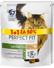 PERFECT FIT (Senior 7+) 750 g x 3 ks Bohaté na kurča - suché krmivo pre staršie mačky 1 + 50%