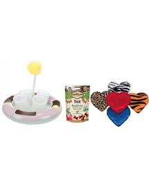 CARNILOVE Vianočná sada Maškrty s kačičkou pre mačku 50 g + hračka na pochúťky + plyšové srdce s valeriánom