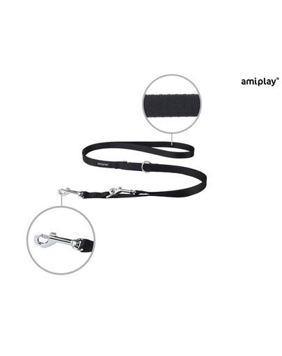 AMIPLAY Smycz taśma basic reg. nr 1-2m/1 cm czarna