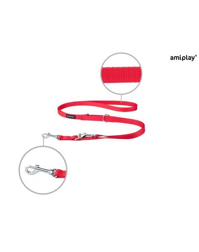 AMIPLAY Smycz taśma basic reg. nr 1-2m/1 cm czerwona