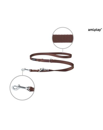 AMIPLAY Smycz taśma basic reg. nr 1-2m/1 cm brązowa