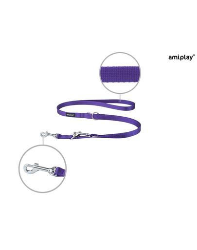 AMIPLAY Smycz taśma basic reg. nr 1-2m/1 cm fioletowa