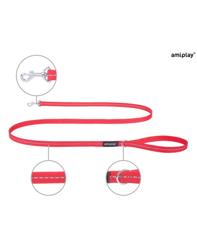 AMIPLAY Smycz reflective s 150/1 cm czerwona