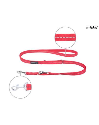 AMIPLAY Smycz reg. reflective s 100-200/1 cm czerwona