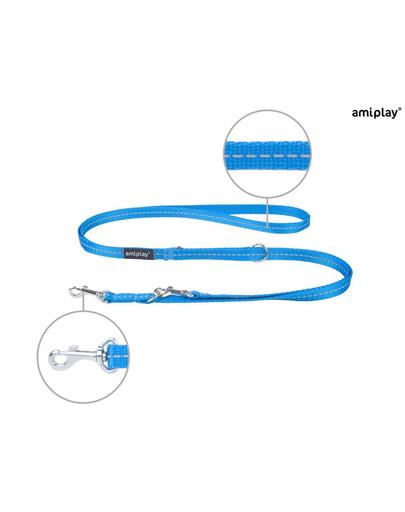 AMIPLAY Smycz reg. reflective s 100-200/1 cm niebieska